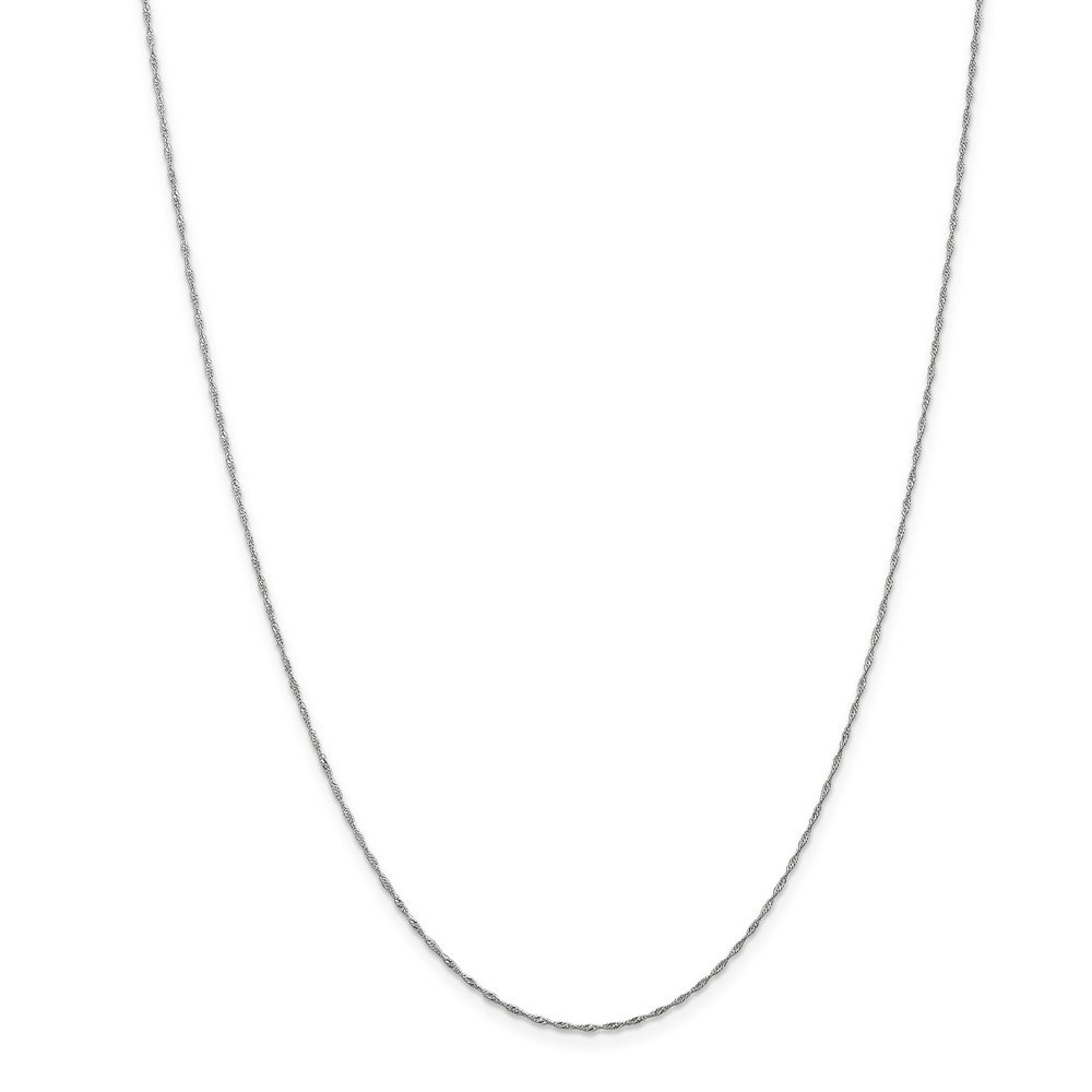 16 16in x 1mm Mia Diamonds 14k Solid White Gold 1mm Singapore Necklace Chain