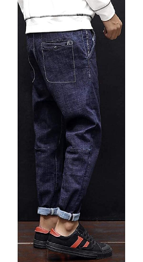 KLJR Men Harem Pants Plus Size Retro Loose Fit Winter Denim Jeans Pants