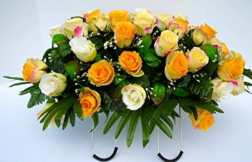 Cemetery Saddle Headstone Decoration with Cream and Yellow Roses for Summer Grave Decoration