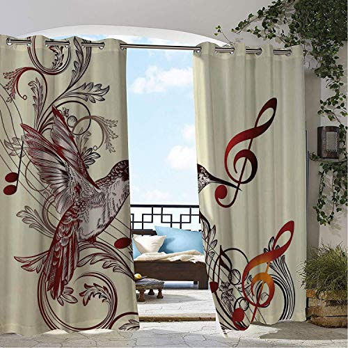 Patio Waterproof Curtain Hummingbirds ations Flying Bird and Music Notes Clef Five Line Staff Musical Creative Artistic Ornate XL pergola Grommets Backdrop Curtains 72 by 108 inch