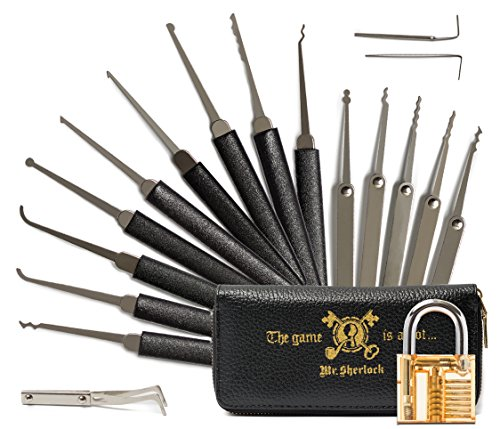 Mr. Sherlock Tool Set with Transparent Practice Lock | Secret Book Style Demonstration Tools and Lock Set for Beginners and Advanced Players