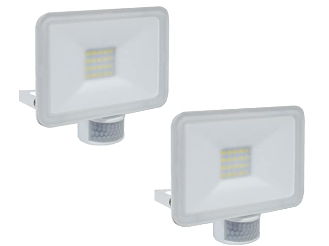 Juego de 2 LED/Foco con detector de movimiento, 20 W, 110 °