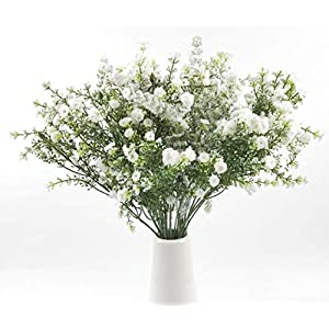 "Nolast 4 Pcs Babys Breath 27"" White Artificial Flowers Fake Gypsophila for Wedding Home Spring Garden Party Decor 45"