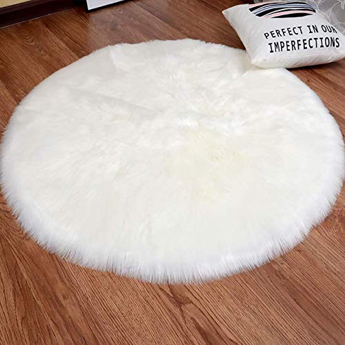 bedee Faux Sheepskin Rug, Faux Fur Rug, Faux Fleece Chair Cover Seat Pad Soft Fluffy Shaggy Area Rugs For Bedroom Living Room Kids Room (Round, White, 60x60cm)