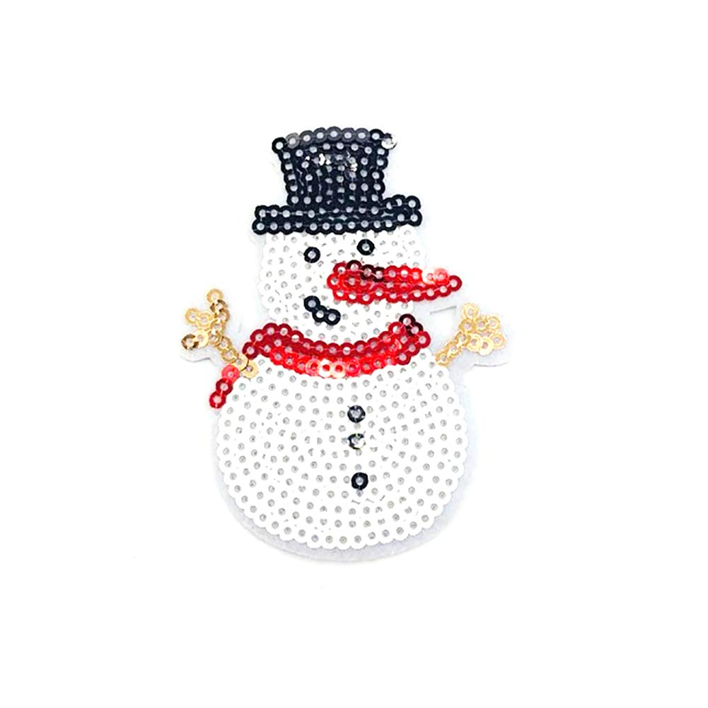 YaptheS 1PC Christmas Sew-on Or Iron-on Patch Santa Embroidered Patches Sequin Applique DIY Clothes Accessories(Snowman-A) Christmas Style