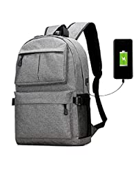 Waterproof Laptop Backpack Lightweight School Bookbags with USB Charger for men&women (grey)