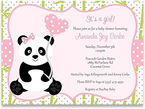 Amazon Com Invitaciones Para La Ducha De Bebé Panda Baby