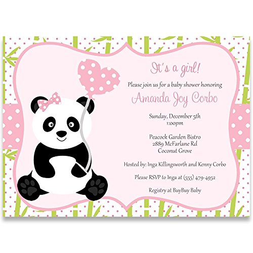 (Panda Baby Shower Invitations Girl Sprinkle Invites Panda Bear Pink Green Bamboo Polka Dots Heart Balloon It's A Girl (10 Count))