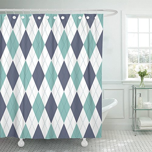 TOMPOP Shower Curtain Argyle Plaid Pattern Diamond Check in Palette of Grayish Cyan Green Dark Blue White and Navy Waterproof Polyester Fabric 72 x 72 inches Set with Hooks ()