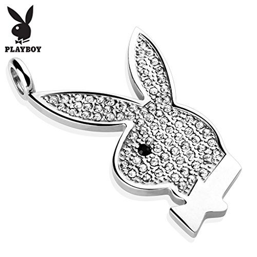 (West Coast Jewelry {Clear} Gem Paved Playboy Bunny 316L Surgical Steel Pendant (Sold Ind.) )