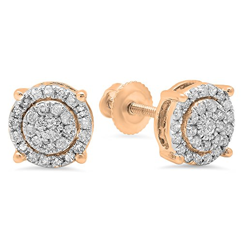 Dazzlingrock Collection 0.35 Carat (ctw) 10K Round White Diamond Ladies Circle Halo Stud Earrings, Rose Gold