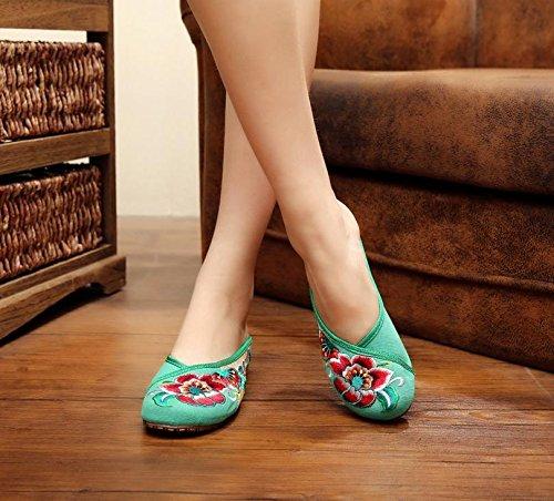 ESFine zapatos bordados, suela de tendón, estilo étnico, solapa hembra, moda, cómodo, sandalias verde