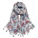 Women Cotton Long Scarf Lady's Polyester Shawls Tassels Thin Soft Kerchief Summer Neckerchief Women's Wraps Spring Autumn (Light Grey)