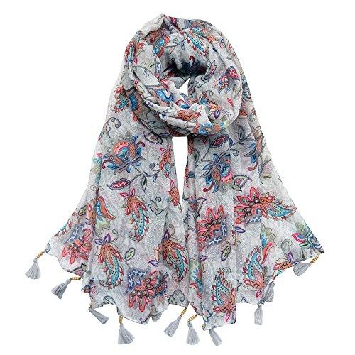 Women Cotton Long Scarf Lady's Polyester Shawls Tassels Thin Soft Kerchief Summer Neckerchief Women's Wraps Spring Autumn (Light Grey) by C&EX·XYGAT
