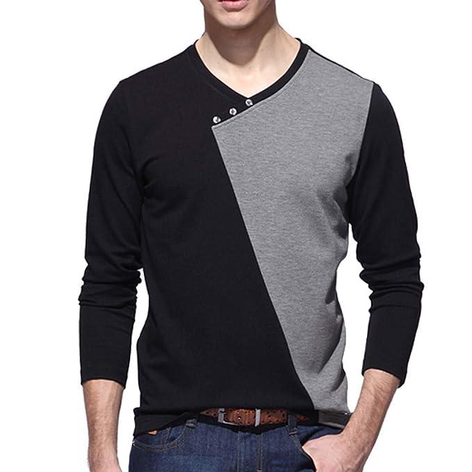 Camisa Hombre Manga Larga BBsmile Camiseta de Cuello Alto para Hombre Manga Larga Camiseta Color Puro Blusa Superior Camiseta Hombre termica: Amazon.es: ...