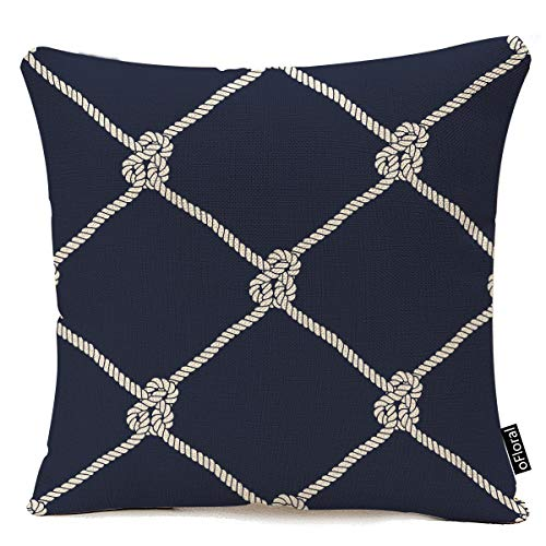 oFloral Decorative Nautical Rope Pattern Cotton Linen Throw Pillow Cover Endless Navy with White Fishing Net and Marine Knots on Dark Blue Trendy Maritime Style Decorative Pillow Case 18x18 Inches (Throw Pillows Navy Nautical)