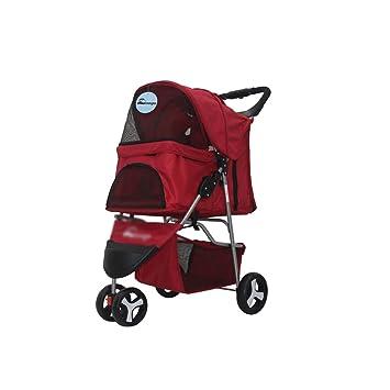 Pet trolley NAUY- Carrito para Mascotas Carro de Tres Ruedas Carro para Perro Carro Plegable para Gato y Perro Necesidades diarias (Color : Red): Amazon.es: ...