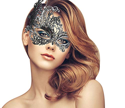 duoduodesign Exquisite Lace Masquerade Mask (Silver Soft Design for Small Faces and Small Eyes)