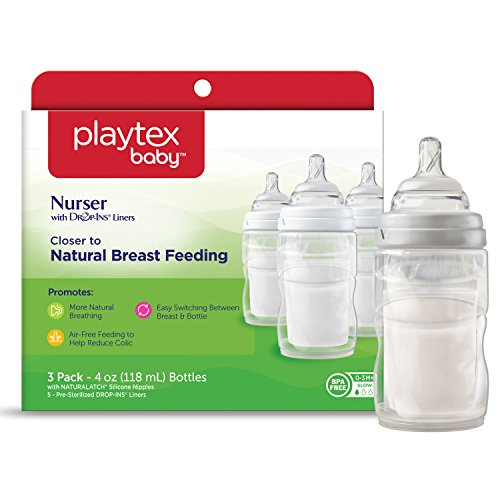 Playtex BPA-Free Nurser Baby Bottles with Disposable Drop-Ins Bottle Liners, 4 Ounce, Pack of 3 Baby Bottles