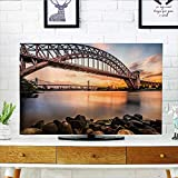 Auraisehome Front Flip Top Sunset Evening View Picture of Hell Gate and Triboro Bridge Astoria Queens New Front Flip Top W32 x H51 INCH/TV 55'