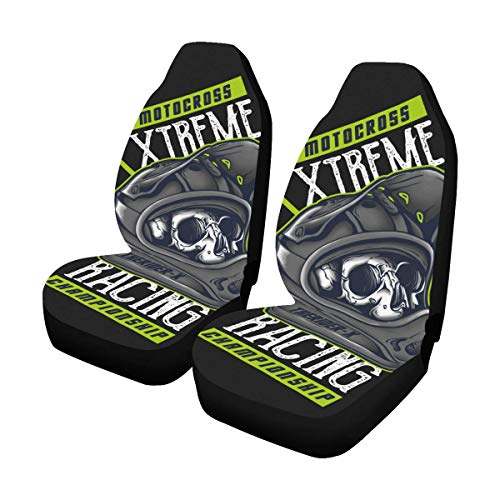 (InterestPrint Motocross Car Seat Covers Set of 2 Protector)