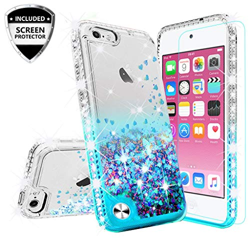 Microseven Compatible with iPod Touch 6, iPod Touch 5 Case Liquid Glitter Phone Case Floating Quicksand Bling Sparkle Protective Girls Women Cover with Side Jewels +Screen Protector (Quicksand Teal) (Ipod 5 Case Jewels)