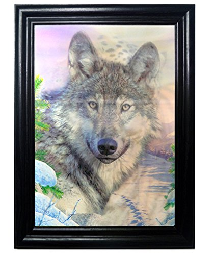 amazoncom leopard wolf tiger framed holographic wall art posters that flip and change images lenticular technology artwork multiple pictures in