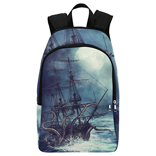 InterestPrint Custom Ocean Octopus Pirate Ship Casual Backpack School Bag Travel Daypack -