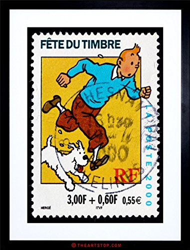 POSTAGE STAMP FRANCE EURO TINTIN SNOWY HERGE POSTMARKED FRAMED PRINT F12X5757 (Framed Stamp)