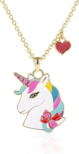 Cadena de 45 cm Regalo de Navidad VU100 Collar para Mujer Ni/ña Colgante Unicornio con Coraz/ón Chapado en Oro