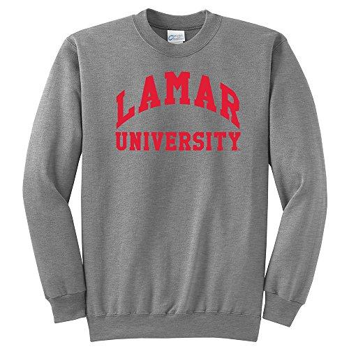 (Campus Merchandise NCAA Lamar University Arch Classic Crewneck Sweatshirt, Light Heather Grey, Small)