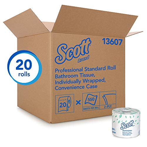 Scott Essential Professional Bulk Toilet Paper for Business (13607), Individually Wrapped Standard Rolls, 2-PLY, White, 20 Rolls / Convenience Case, 550 Sheets / Roll]()