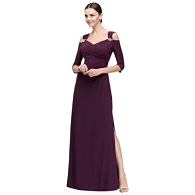 Cold Shoulder Jersey Mother of Bride/Groom Gown with Crystal Accents ...