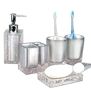 Resin Soap Dish, Soap Dispenser, Toothbrush Holder & Tumbler Bathroom Accessory 5 Piece Set