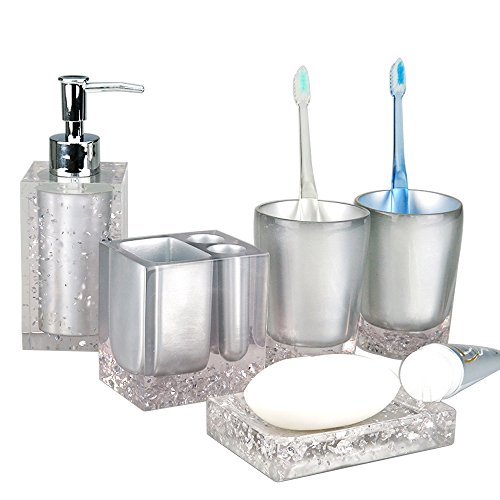 Generic 5-Piece Resin Bathroom Accessory Set with Soap Dish, Dispenser,  Toothbrush Holder and Tumbler, Silver