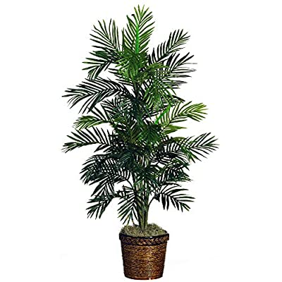 Nearly Natural 5263-03 Areca Palm Decorative Silk Tree with Basket, 4-Feet, Green