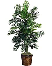 Nearly Natural 5263-03 Areca Palm Decorative Silk Tree with Basket, 4.5-Feet, Green