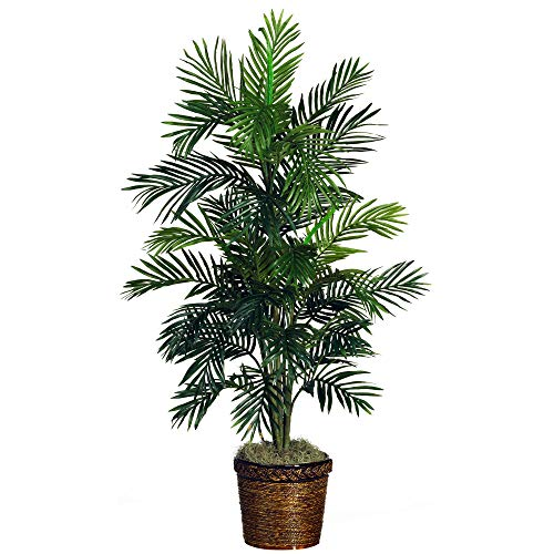 4' Palm Green - Nearly Natural 5263-03 Areca Palm Decorative Silk Tree with Basket, 4-Feet, Green