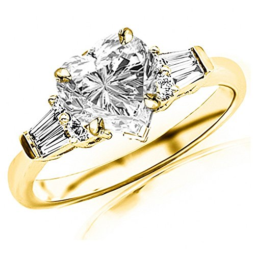 (0.85 Ctw 14K Yellow Gold Prong Set Round And Baguette Engagement Ring w/Heart 0.5 Carat Forever One Moissanite Center)