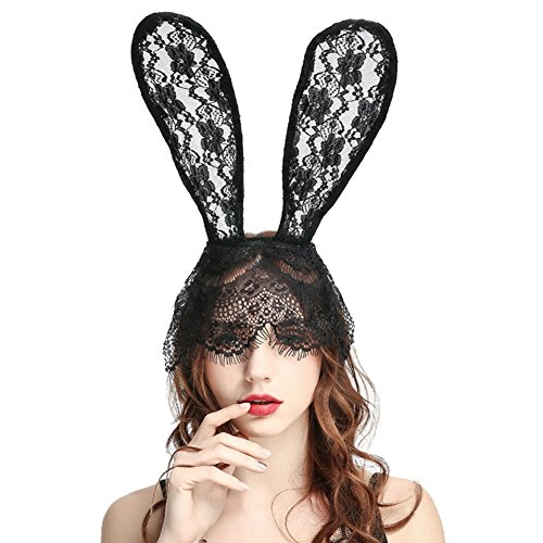 Lace Bunny Ears Headband Costume Accessories Sexy Black