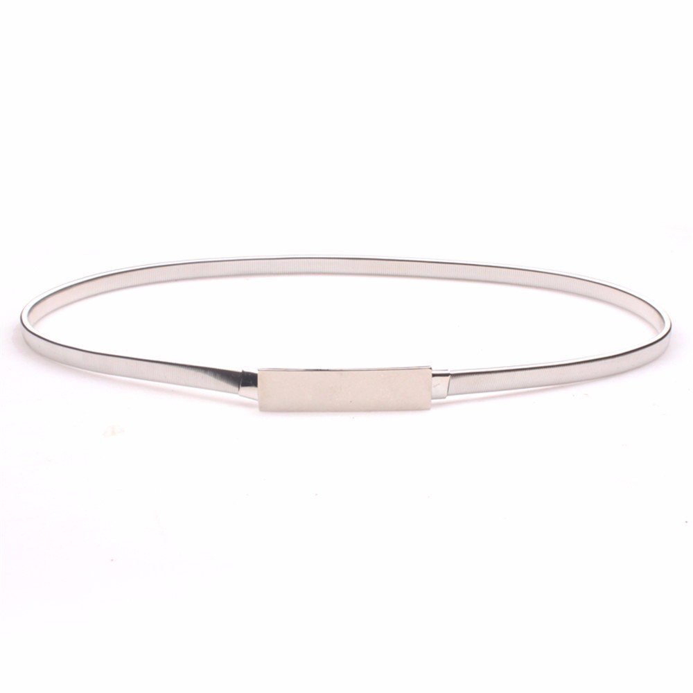 SAIBANGZI Ms Women All Seasons Mirror Elastic Metal Belt Fine Decorative Dress Simple Belt Elastic Waist Seal Girlfriend Present Silver 72-110Cm