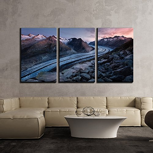 - wall26 - 3 Piece Canvas Wall Art - Winter Landscape of Curve Road Through Mountain Area - Modern Home Decor Stretched and Framed Ready to Hang - 16