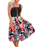 MEROKEETY Women's Summer Sleeveless Floral Print Contrast Tank Top Midi Dress with Pockets