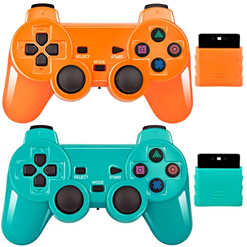 2 Pack Wireless Controller 2.4G Compatible with Sony Playstation 2 PS2 (Orange+Green) (Sony Ps2 Controller)