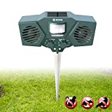 EBUNG Ultrasonic Animal & Pest Repeller – 30' Motion Sensor & Optional LED Flashlight for Improved Effectiveness – 3 Frequency Settings – Weather Proof Design – Stake for Easy Installation