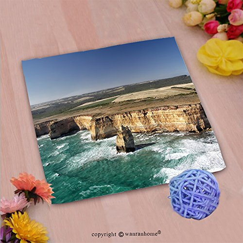 Great American Park Aerial (VROSELV Custom Cotton Microfiber Ultra Soft Hand Towel-aerial view of the twelve apostles at the great ocean road in the port campbell national park Custom pattern of household products(20