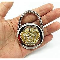 QTMY Rhinestone Diamond Imperial crown Fold table Purse Hook for handbag hanger