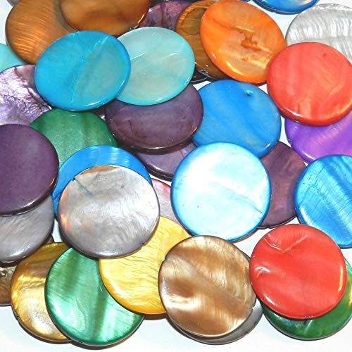 Assorted Color Mother of Pearl 30mm Flat Round Gemstone Shell Beads 12pc (Coin Beads Puffed)