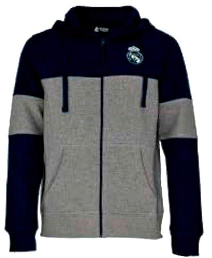 Sudadera con Capucha Real Madrid CF Oficial - Azul Marino/Gris - Tallaje Junior y