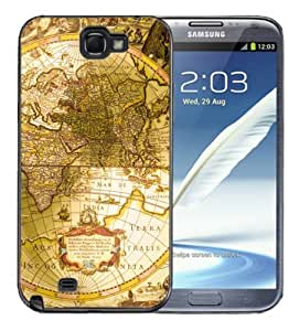 Samsung Galaxy Note 2 Black Rubber Silicone Case - Old World Map Maps Globe Vintage